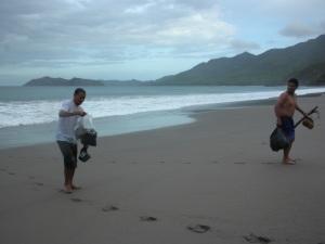 After swimming to shore on Playa Colorada, Peninsula de Santa Elena.