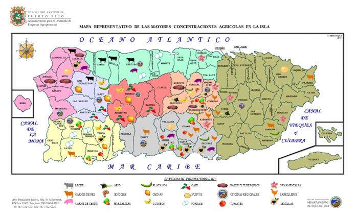 MAPA REPRESENTATIVO DE LAS MAYORES CONCENTRACIONES AGRICOLAS EN LA ISLA